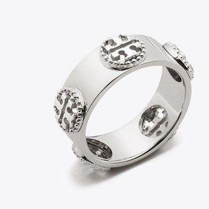 Tory Burch Ring Milgrain Silver Logo Ring New